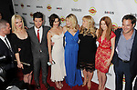 HOLLYWOOD, CA - AUGUST 23: James Marsden, Leslye Headland, Lizzy Caplan, Kirsten Dunst, Rebel Wilson and Isla Fisher and Kyle Bornheimer arrive at the Los Angeles premiere of 'Bachelorette' at the Arclight Hollywood on August 23, 2012 in Hollywood, California.