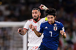 Shibasaki Gaku of Japan (R) fights for the ball with Seyed Ashkan Dejagah of Iran (L) during the AFC Asian Cup UAE 2019 Semi Finals match between I.R. Iran (IRN) and Japan (JPN) at Hazza Bin Zayed Stadium  on 28 January 2019 in Al Alin, United Arab Emirates. Photo by Marcio Rodrigo Machado / Power Sport Images