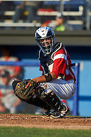 Batavia Muckdogs catcher Roy Morales (34) looks to the dugout during a game against the Williamsport Crosscutters on July 15, 2015 at Dwyer Stadium in Batavia, New York.  Williamsport defeated Batavia 6-5.  (Mike Janes/Four Seam Images)