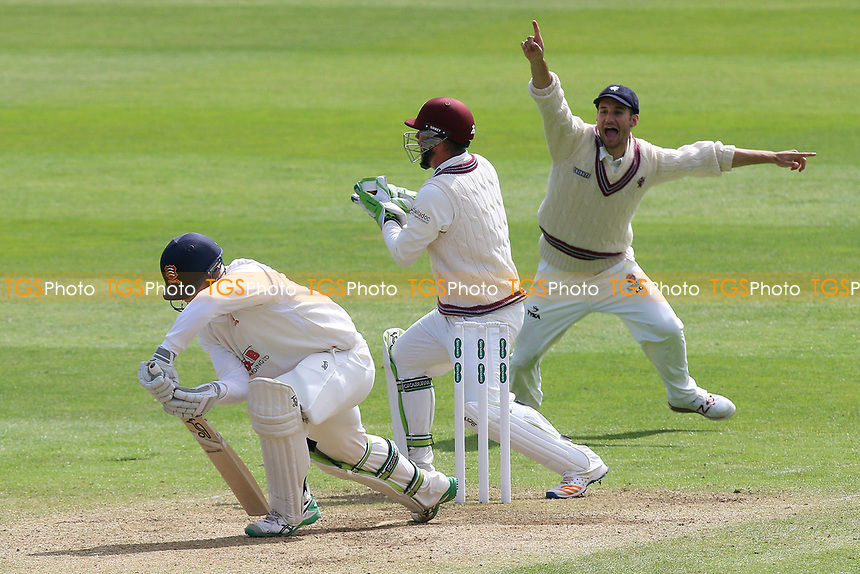 Simon Harmer of Essex is caught behind by Steven Davies from the bowling of Roelof van der Merwe during Somerset CCC vs Essex CCC, Specsavers County Championship Division 1 Cricket at The Cooper Associates County Ground on 15th April 2017