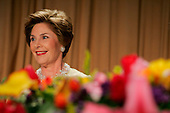 First lady Laura Bush attends the annual White House Correspondents' Association dinner at the Washington Hilton in Washington, D.C., Saturday 30 April 2005. President George W. Bush headlined the dinner with his speech along with Cedric The Entertainer. The annual dinner began in 1914 as a bridge between the White House and its media corps and tonight feautured a mix of political insiders including Supreme Court Justices, Antonin Scalia and Stephen Breyer, and Hollywood elite such as Goldie Hawn and Richard Gere. <br /> Credit: Katie Falkenberg - Pool via CNP