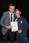 St Johnstone FC Academy Awards Night...06.04.15  Perth Concert Hall<br /> Zander Clark presents a certificate to Gregor Donald<br /> Picture by Graeme Hart.<br /> Copyright Perthshire Picture Agency<br /> Tel: 01738 623350  Mobile: 07990 594431