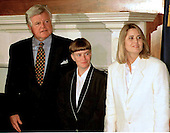 "Washington, DC - June 15, 1995 - United States Senator Edward M.  ""Ted"" Kennedy (Democrat of Massachusetts),left, Candace Gingrich, sister of U.S. House Speaker Newt Gingrich (Republican of Georgia), center, and Chastity Bono, daughter of U.S. Representative Sonny Bono (Republican of California), right, attend the ceremony for the Introduction of the Federal Non-Descrimination Act in The Capitol in Washington, D.C. on June 15, 1995..Credit: Ron Sachs / CNP"