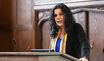 Salma Ghanem, acting provost, speaks during the second annual Grace Lee Boggs Heritage Breakfast hosted by the Office of Institutional Diversity and Equity, Thursday, May 9, 2019, in Cortelyou Commons. (DePaul University/Jeff Carrion)