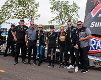 Apr 13, 2019; Baytown, TX, USA; Pennzoil VIP guests in front of the dragster of NHRA top fuel driver Leah Pritchett during qualifying for the Springnationals at Houston Raceway Park. Mandatory Credit: Mark J. Rebilas-USA TODAY Sports