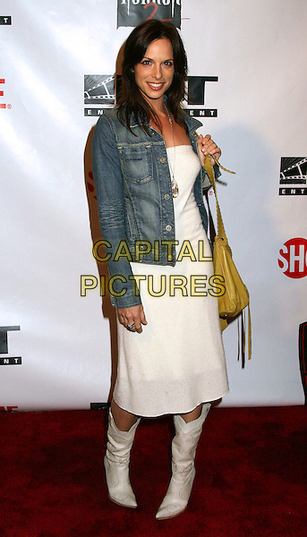 "DANIELLE BURGIO.""Masters Of Horror"" Season 2 Launch Party at The Iva, Hollywood, California, USA. .April 4th, 2006.Photo: Byron Purvis/AdMedia/Capital Pictures.Ref: BP/ADM.full length white dress boots denim jacket.www.capitalpictures.com.sales@capitalpictures.com.© Capital Pictures."