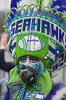 Seattle Seahawks 12th Man Fans at 2015 Playoff Game Rally, Renton City Hall, Washington State, WA, America, USA.
