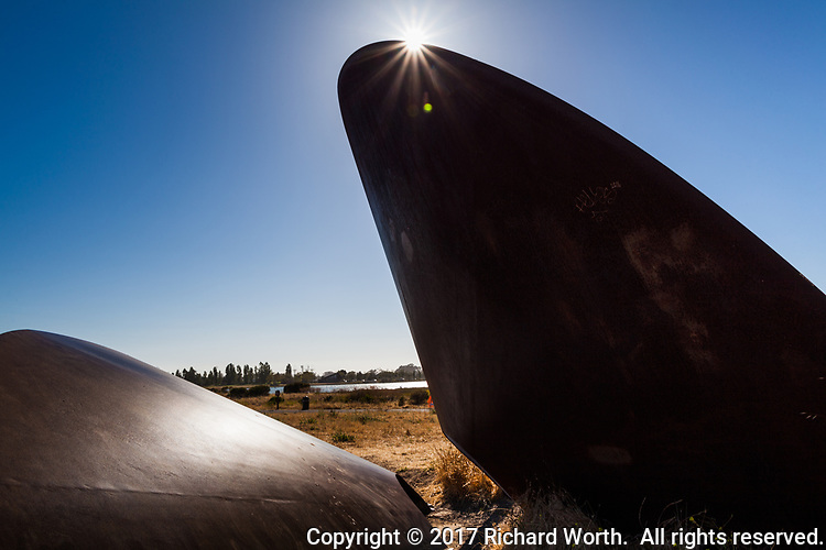 The duplex cone, a sculpture by artist Roger Berry, at Martin Luther King Jr. Regional Shoreline.  With sunburst.
