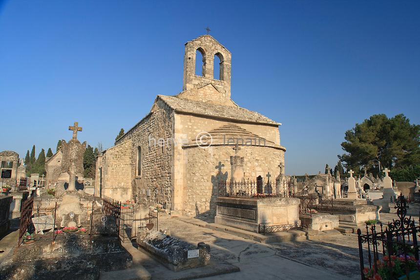 France, Bouches-du-Rhône (13), Saint-Andiol, chapelle romane du IX ème S. du cimetière // France, Bouches du Rhone, Saint Andiol, romanesque chapel of the cemetery
