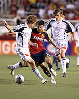 Chris Albright (l) Javier Morales (11) and Wells Thompson (27) in the 1-2 RSL win at Rice Eccles Stadium in Salt Lake City, Utah on  June 21, 2008.