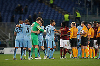 manchester players celebrates after winning agains Roma    the Champions League Group E soccer match between As Roma and Manchester City  at the Olympic Stadium in Rome December 10 , 2014.