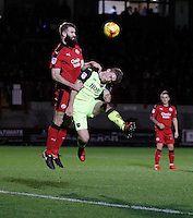 Exeter City's David Wheeler and Crawley Town's Joe McNerney compete for the ball during the Sky Bet League 2 match between Crawley Town and Exeter City at Broadfield Stadium, Crawley, England on 28 February 2017. Photo by Carlton Myrie / PRiME Media Images.