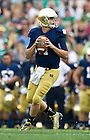 Aug. 31, 2013; Temple quarterback Tommy Rees drops back to pass during the first half against Temple. Photo by Barbara Johnston/University of Notre Dame