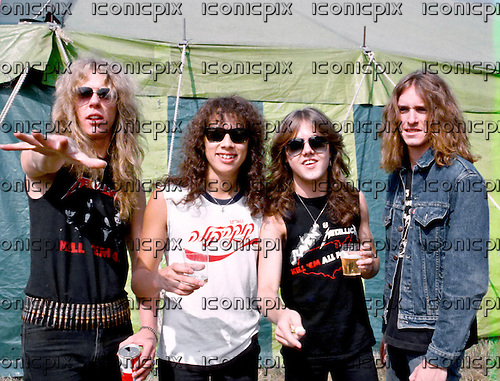 METALLICA - L-R: James Hetfield, Kirk Hammett, Lars Ulrich, Cliff Burton - backstage at the Breaking Sound Festival at Le Bourget Airport near Paris France - 29 Aug 1984.  Photo credit: Bertrand Alary/IconicPix