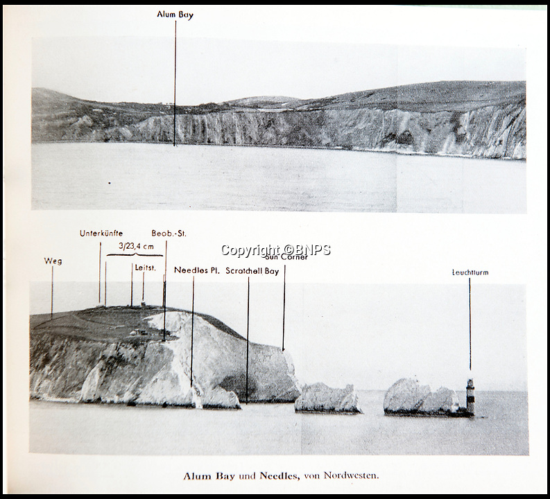 BNPS.co.uk (01202 558833)<br /> Pic: PhilYeomans/BNPS<br /> <br /> Alum Bay and the Needles were annotated.<br /> <br /> Chilling - Hitlers 'How to' guide to the invasion of Britain.<br /> <br /> A remarkably detailed invasion plan pack of Britain has been unearthed to reveal how our genteel seaside resorts would have been in the front line had Hitler got his way in World War Two.<br /> <br /> The Operation Sea Lion documents, which were issued to German military headquarters' on August 1, 1940, contain numerous maps and photos of every town on the south coast.<br /> <br /> They provide a chilling reminder of how well prepared a German invading force would have been had the Luftwaffe not been rebuffed by The Few in the Battle of Britain.<br /> <br /> There is a large selection of black and white photos of seaside resorts and notable landmarks stretching all the way from Land's End in Cornwall to Broadstairs in Kent.<br /> <br /> The pack also features a map of Hastings, raising the possibility that a second battle could have been staged there, almost 900 years after the invading William The Conqueror triumphed in 1066.