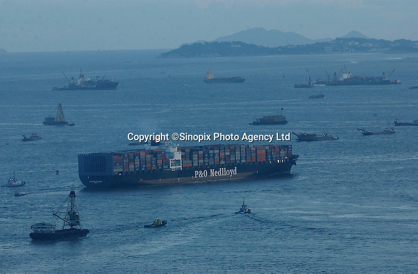 Ships near the container terminal in Kwai Chung, Hong Kong..04-JUL-03