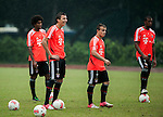 Dante, Mario Mandzukic, Xherdan Shaquiri and Jerome Boateng of Bayern Munich during a training session ahead the friendly match against VfL Wolfsburg as part of the Audi Football Summit 2012 on July 26, 2012 at the Tianhe Sports Stadium in Guangzhou, China. Photo by Victor Fraile / The Power of Sport Images