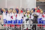 Stockholm 2015-03-13 Bandy SM-final herrar Sandvikens AIK - V&auml;ster&aring;s SK :  <br /> Karebys spelare med lagkapten Stina Ysing med SM-pokalen jublar efter matchen mellan Sandvikens AIK och V&auml;ster&aring;s SK <br /> (Foto: Kenta J&ouml;nsson)<br /> Nyckelord:  SM SM-final final Bandyfinal Bandyfinalen Dam Damer Dambandy AIK Kareby IS jubel gl&auml;dje lycka glad happy
