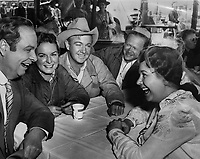 Giant (1956) <br /> Behind the scenes photo of Jane Withers, Chill Wills, Robert Nichols &amp; Mercedes Mccambridge<br /> *Filmstill - Editorial Use Only*<br /> CAP/KFS<br /> Image supplied by Capital Pictures