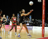 31.10.2013 Silver Fern Irene Van Dyk in action during the Silver Ferns V Malawi during the New World Netball Series played at the Claudelands Arena in Hamilton. Mandatory Photo Credit ©Michael Bradley.