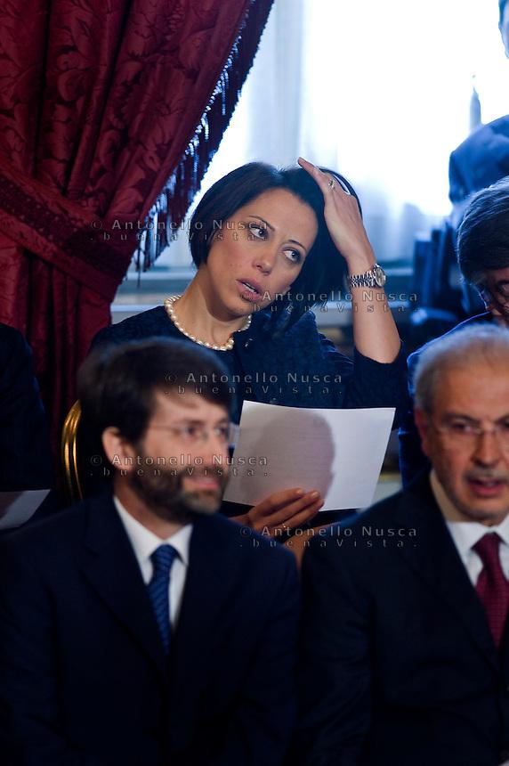 Nunzia De Girolamo, ministro per le Politiche Agricole  durante la cerimonia del giuramento del nuovo Governo Letta nel Salone delle Feste del Quirinale.