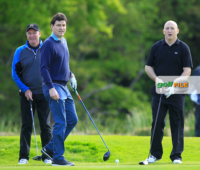 Aidan Brown (AM), Michael Smurfitt Jnr. (AM) and Keith Wood (AM) on the 16th tee during Wednesday's Pro-Am round of the Dubai Duty Free Irish Open presented  by the Rory Foundation at The K Club, Straffan, Co. Kildare<br /> Picture: Golffile | Thos Caffrey<br /> <br /> All photo usage must carry mandatory copyright credit <br /> (&copy; Golffile | Thos Caffrey)