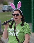 Volunteer Chelsea Sladek, with Bridge Church, during the Community Easter Egg Dash at Idlewild Park in Reno, Nevada on Saturday, March 31, 2018.