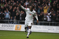 Pictured: Jason Scotland of Swansea City celebrates his goal<br /> Re: Coca Cola Championship, Swansea City FC v Doncaster Rovers at the Liberty Stadium. Swansea, south Wales, Saturday 21 February 2009<br /> Picture by D Legakis Photography / Athena Picture Agency, Swansea 07815441513