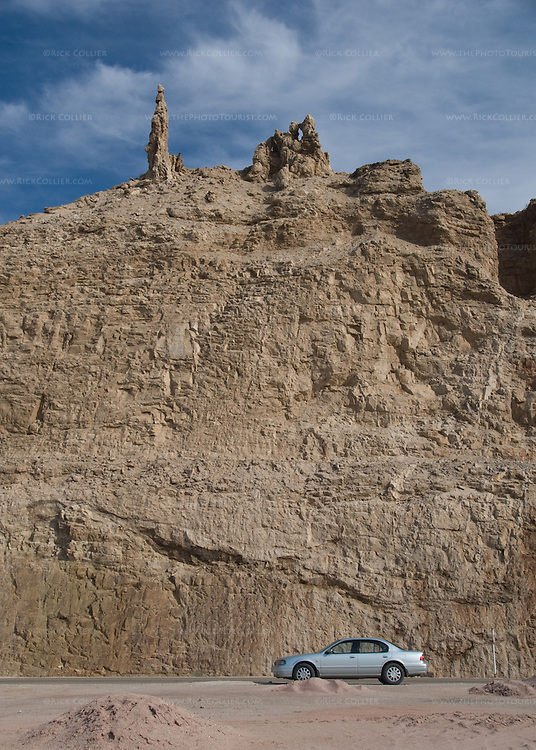 Local tour guides point at the natural rock formation at the top of this bluff, on the Jordanian shore overlooking the Dead Sea, and invoke the Biblical story of Lot's wife.  © Rick Collier