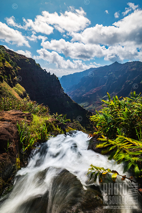 View of Waipo'o Falls and Waimea Canyon from the Canyon Trail, Kaua'i.