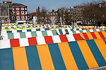 Colourful roofs of market stalls, Norwich, England