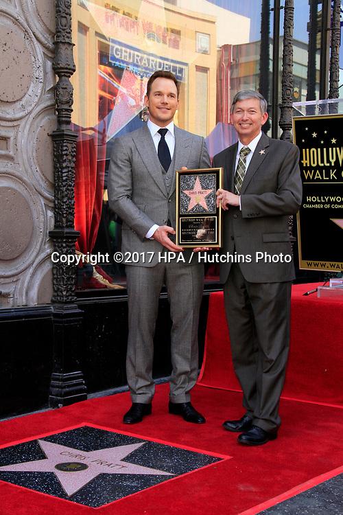 LOS ANGELES - APR 21:  Chris Pratt, Leron Gubler at the Walk of Fame Star Ceremony on the Hollywood Walk of Fame on April 21, 2017 in Los Angeles, CA