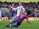 James Tomkins of Crystal Palace goes down claiming a hand to the face from Billy Sharp of Sheffield Utd during the Premier League match at Selhurst Park, London. Picture date: 1st February 2020. Picture credit should read: Paul Terry/Sportimage