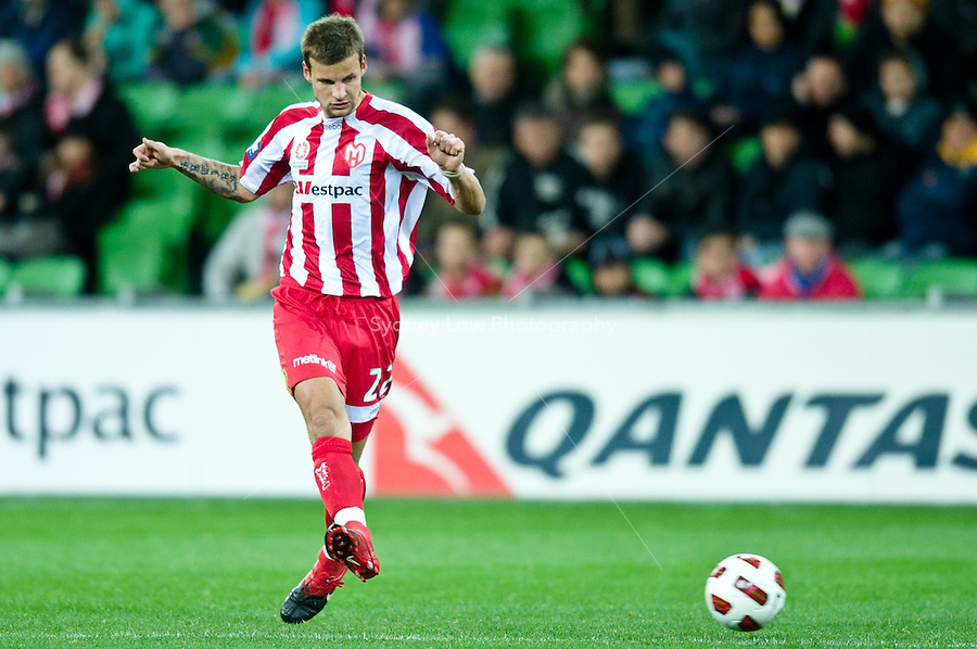 MELBOURNE, AUSTRALIA - AUGUST 5, 2010: Nick Kalmar from the Heart kicks the ball in Round 1 of the 2010 A-League between the Melbourne Heart and Central Coast Mariners at AAMI Park on August 5, 2010 in Melbourne, Australia. (Photo by Sydney Low / www.syd-low.com)