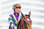 Jockey Keith Yeung Ming-lun riding #7 Perfect Match poses for photo after winning Race 1 L'Oreal Paris Handicap during Hong Kong Racing at Sha Tin Racecourse on November 04, 2018 in Hong Kong, Hong Kong. Photo by Yu Chun Christopher Wong / Power Sport Images
