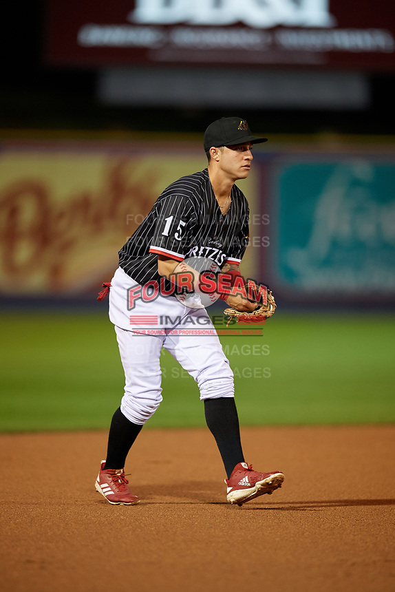 Reading Fightin Phils third baseman Jose Gomez (15) during an Eastern League game against the Trenton Thunder on August 16, 2019 at FirstEnergy Stadium in Reading, Pennsylvania.  Trenton defeated Reading 7-5.  (Mike Janes/Four Seam Images)