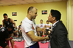Igor Svirid, One middleweight world champion from Kazakstan in Red locker room with CEO of ONE Victor Cui<br /><br />MMA. Mixed Martial Arts &quot;Tigers of Asia&quot; cage fighting competition. Top professional male and female fighters from across Asia, Russia, Australia, Malaysia, Japan and the Philippines come together to fight. This tournament takes place in front of a ten thousand strong crowd of supporters in Pelaing Stadium. Kuala Lumpur, Malaysia. October 2015