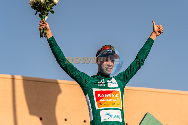 Phil Bauhaus (GER) Bahrain-Mclaren wins the overall general classification at the end of Stage 5 of the Saudi Tour 2020 running 144km from Princess Nourah University to Al Masmak, Saudi Arabia. 8th February 2020. <br /> Picture: ASO/Kåre Dehlie Thorstad | Cyclefile<br /> All photos usage must carry mandatory copyright credit (© Cyclefile | ASO/Kåre Dehlie Thorstad)