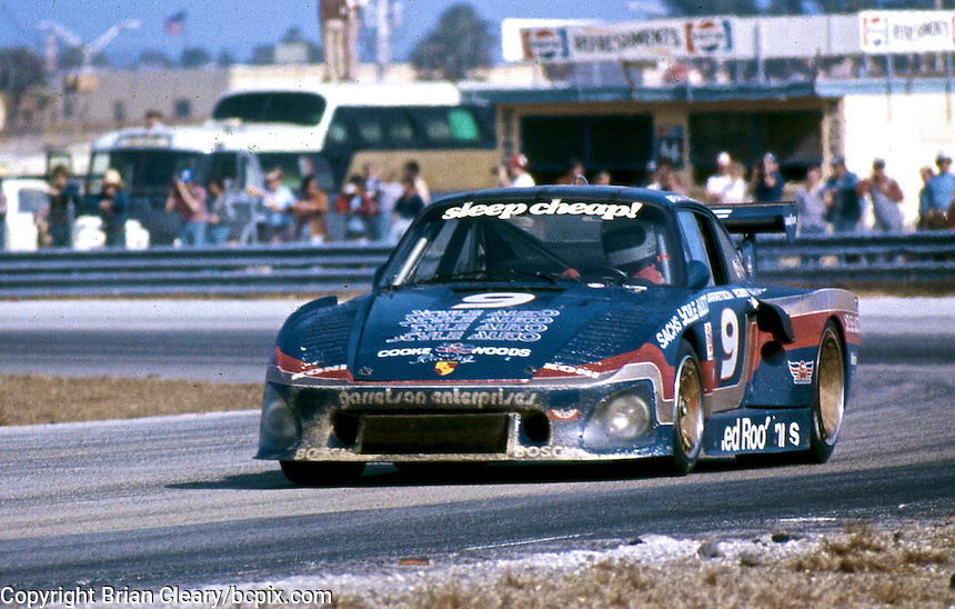 The #9 Porsche 935 of Bob Garretson, Bobby Rahal, and Brian Redman races to victory in the 24 Hours of Daytona, Daytona International Speedway, February 1, 1981.  (Photo by Brian Cleary/www.bcpix.com)