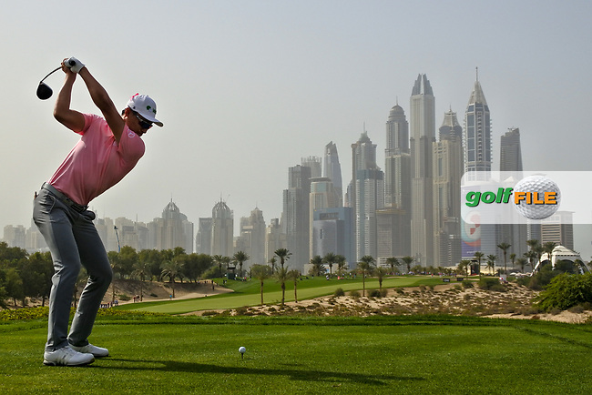 Haotong Li (CHN) on the 8th during Round 2 of the Omega Dubai Desert Classic, Emirates Golf Club, Dubai,  United Arab Emirates. 25/01/2019<br /> Picture: Golffile | Thos Caffrey<br /> <br /> <br /> All photo usage must carry mandatory copyright credit (&copy; Golffile | Thos Caffrey)