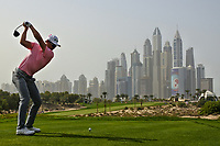 Haotong Li (CHN) on the 8th during Round 2 of the Omega Dubai Desert Classic, Emirates Golf Club, Dubai,  United Arab Emirates. 25/01/2019<br /> Picture: Golffile | Thos Caffrey<br /> <br /> <br /> All photo usage must carry mandatory copyright credit (© Golffile | Thos Caffrey)
