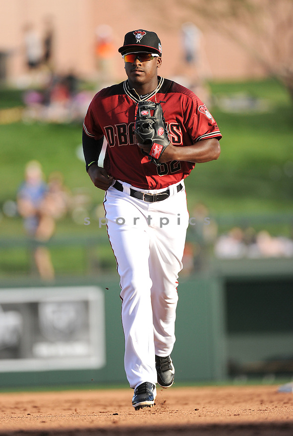 Arizona Diamondbacks Domingo Leyba (82) during a preseason game against the Arizona Wildcats on March 1, 2016 at Salt River Fields at Talking Stick in Scottsdale, AZ. The Diamondbacks beat the Wildcats 5-12..
