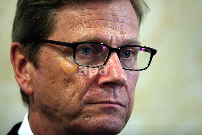 German Foreign Minister Guido Westerwelle speaks to the media following a meeting with Palestinian Prime Minister Salam Fayyad, in the West Bank city of Ramallah, 09 September 2012. Westerwelle came for a one day visit to Israel and Palestine. Photo by Issam Rimawi