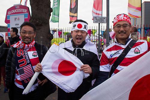 11.10.2015. Kingsholm Stadium, Gloucester, England. Rugby World Cup. USA versus Japan. Japan fans pictured outside Kingsholm Stadium before kick-off.