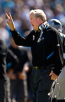 Carolina Panthers head coach John Fox gives instructions to his team against the Arizona Cardinals during an NFL football game at Bank of America Stadium in Charlotte, NC.