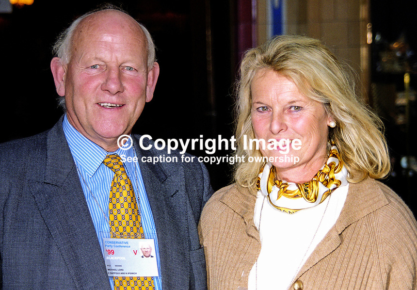 Michael Lord, MP, Conservative Party, Britain, UK, with wife, Jenny. Taken at Conservative Party Conference, Blackpool. Michael Lord later became a life peer, Lord Framlingham. Ref: 199910067.<br />