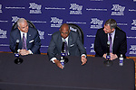 Tubby Smith (center), flanked by High Point University President Dr. Nido Qubein (left) and Athletic Director Dan Hauser (right), answers questions during a press conference after having been introduced as the new men's basketball head coach at the Hayworth Fine Arts Center on the campus of High Point University on March 27, 2018 in High Point, North Carolina.  (Brian Westerholt/Sports On Film)