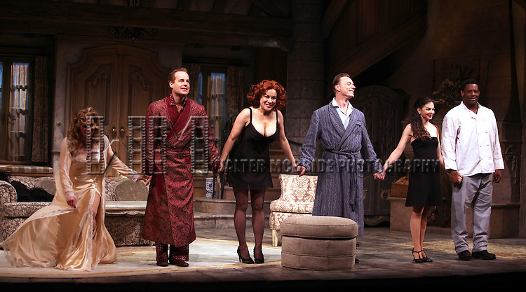 Patricia Kalember, Adam James, Jennifer Tilly, Ben Daniels, Spencer Kayden & David Aron Damane.during the Opening Night Curtain Call for the Roundabout Theatre Company's Broadway Production of 'Don't Dress For Dinner' at the American Airlines Theater on 4/26/2012 in New York City.
