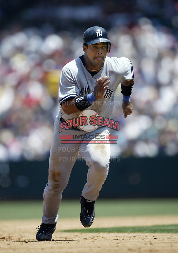 Raul Mondesi of the New York Yankees runs the bases during a 2002 MLB season game against the Los Angeles Angels at Angel Stadium, in Anaheim, California. (Larry Goren/Four Seam Images)