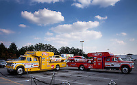 Aug. 29, 2013; Avon, IN, USA: The cars of NHRA former drivers Don Prudhomme (left) and Tom McEwen on display prior to the premiere of Snake & Mongoo$e at the Regal Shiloh Crossing Stadium 18. Mandatory Credit: Mark J. Rebilas-